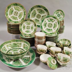 Approximately Ninety-two Pieces of Green Fitzhugh Porcelain Tableware