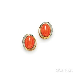 18kt Gold, Coral, and Diamond Earrings, Silvia Kelly
