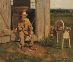 Arthur Hoeber (American, 1854-1915)      Portrait of a Man, Possibly Amish or Mennonite, with Sharpening Stone