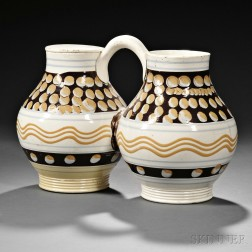 Mocha-decorated Pearlware Double Jug