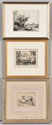 Three Framed Dutch 17th Century-style Prints:    After Lucas van Leyden (1494-1533), The Milkmaid