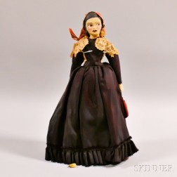 Painted Papier-mache Head Doll with Victorian Dress