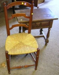 Jacobean-style Walnut Stand, a Ladder-back Chair, and a Small Chippendale-style Mahogany Veneer Open Bookcase.
