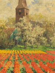 George Hitchcock (American, 1850-1913)      Tulip Fields with Orchard and Clock Tower