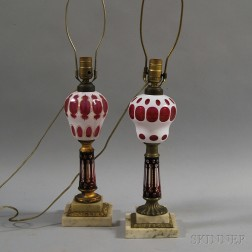 Two Overlay Glass Lamps