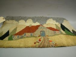 Small Hooked Rug with House.