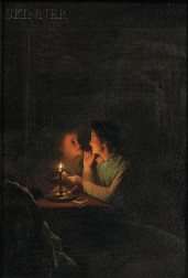 School of Petrus van Schendel (Belgian, 1806-1870)      Two Young Women Reading a Letter by Candlelight