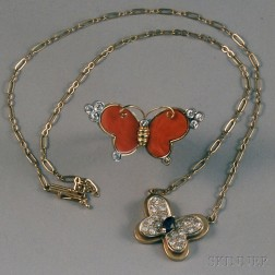 Two Pieces of 14kt Gold Gem-set Butterfly Jewelry