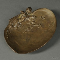 After Gustave Joseph Cheret, (French, 1838-1894)       Art Nouveau Bronze Figural Dish Modeled with Children Serenading the Moon