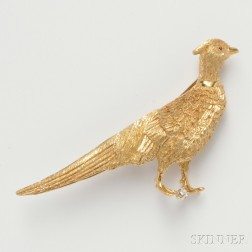 18kt Gold Pheasant Brooch