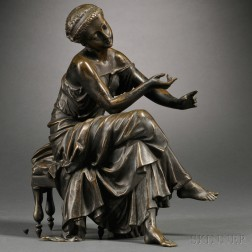 After Etienne-Henri Dumaige (French, 1830-1888)      Bronze Figure of a Classical Maiden