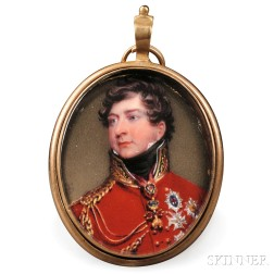 Henry Bone (English, 1755-1834)      Portrait Miniature of George IV as Prince Regent.