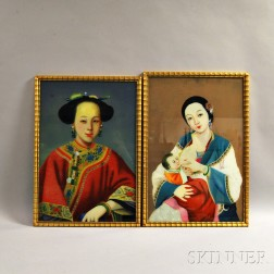 Two Reverse Glass Paintings