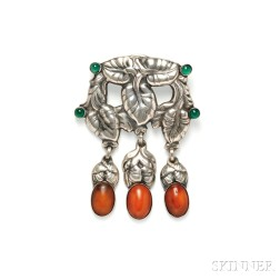 .830 Silver, Amber, and Green Agate Brooch, Georg Jensen