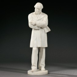 White Marble Sculpture of a Standing Male Figure