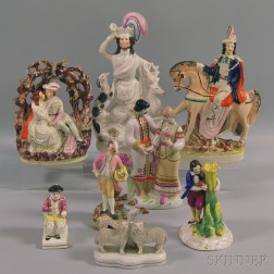 Eight Staffordshire Figural Groups