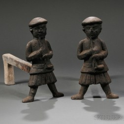 Pair of Cast Iron Scotsman Figural Andirons