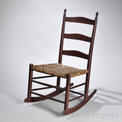 """Shaker Production Red-painted """"3"""" Rocking Chair"""