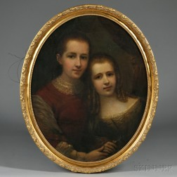 Anglo-American School, 19th Century       Double Portrait of Sisters