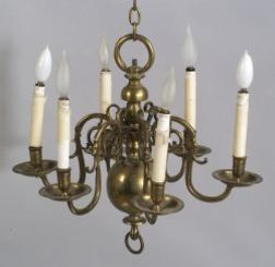 Six-Light Brass Chandelier