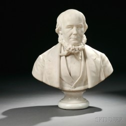 J. Daniel Perry (American, act. Late 19th Century)       White Marble Bust of Horace Greeley