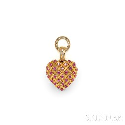18kt Gold, Ruby, and Diamond Pendant