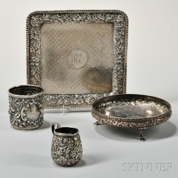 Four Pieces of Repousse-decorated Silver Tableware