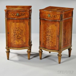 Pair of Louis XVI-style Marquetry and Parcel-giltwood Satinwood Commodes