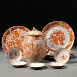 Ten Rouge-de-fer Decorated Chinese Export Porcelain Table Items