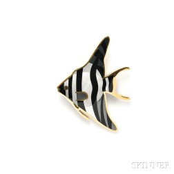 18kt Gold and Hardstone Tropical Fish Brooch, Tiffany & Co.