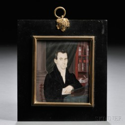 Anthony and/or Nina Meucci (Spanish/American, ac. 1818-1826/27)      Portrait Miniature of a Gentleman in His Library.