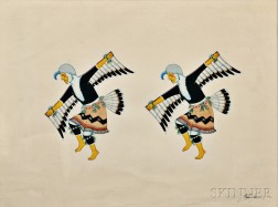 Awa Tsireh (San Ildefonso Pueblo, 1898-1955)       Framed Painting of Two Eagle Dancers