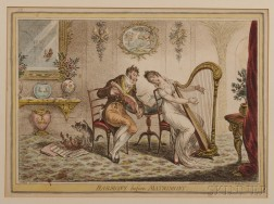 Caricatures: James Gillray Print and Book of French Lithographs, 19th Century.