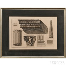 Giovanni Battista Piranesi (Italian, 1720-1778)      Frammenti architettonici (Five Architectural Fragments from Albano)