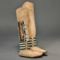 Pair of Ute Woman's High-top Moccasins