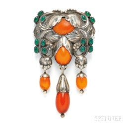 Silver and Amber Master Brooch, Georg Jensen