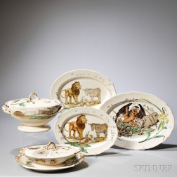 """Six Pieces of Copeland Earthenware """"Aesop's Fables,"""""""