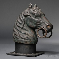 Green-painted Horse Head Hitching Post