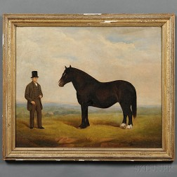 Anglo-American School, 19th Century      Portrait of a Man In a Top Hat with His Horse.