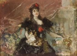 Harry Humphrey Moore (American, 1844-1926)  Seated Lady with Her Tabby, A Portrait Study