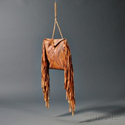 Blackfoot Painted and Fringed Buffalo Hide Medicine Parfleche