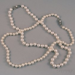 Two Mikimoto Cultured Pearl Necklaces