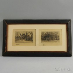 """Two Etchings of Yale University in a """"Yale Fence"""" Frame"""