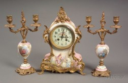 """Sevres"" Louis XV-style Three Piece Porcelain and Ormolu Mounted Clock Garniture"
