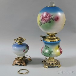 Two Late Victorian Hand-painted Kerosene Lamps