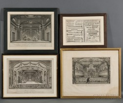 Musical and Theater Prints, Four, Framed.