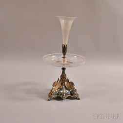 Silver-plated and Etched Colorless Glass Epergne