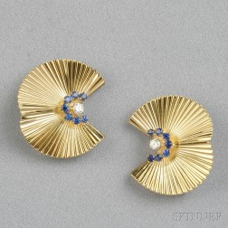 Pair of Retro 14kt Gold and Sapphire Clip Brooches, Tiffany & Co.
