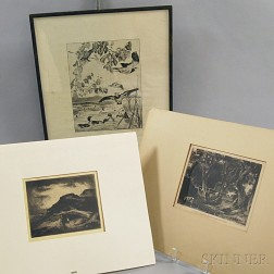Three Intaglio Prints:      David Lucas (British, 1802-1881) After John Constable, A Dell, Helmingham Park, Suffolk