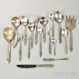 """Frank Smith """"Woodlily"""" Pattern Sterling Silver Flatware Service"""